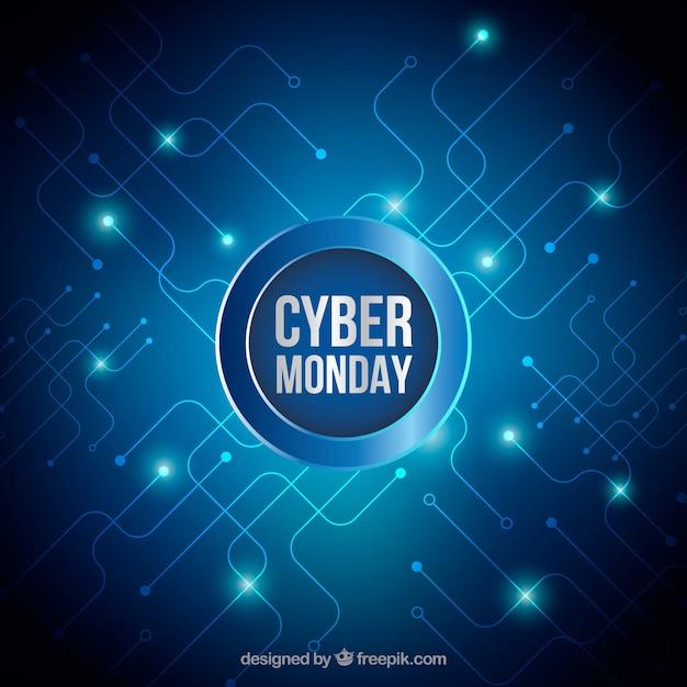 Heldere achtergrond van cyber maandag Gratis Vector