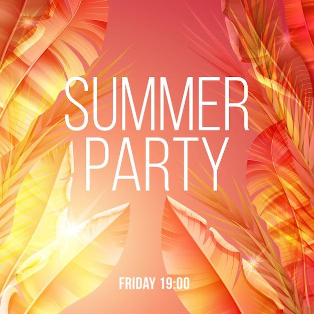 Heldere exotische natuurlijke zomer partij poster Gratis Vector