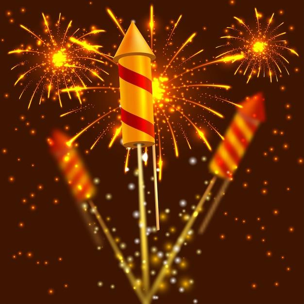 Heldere festivalcrackers op vuurwerkachtergrond. vector illustratie Premium Vector