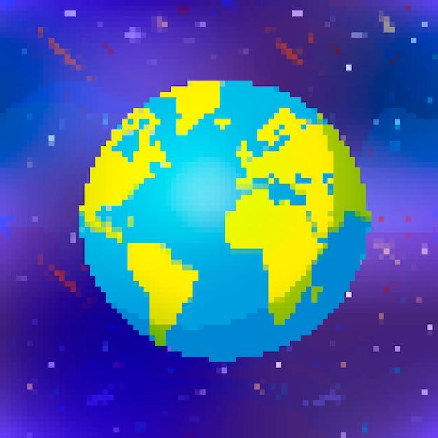 Heldere glanzende aardeplaneet in de kleurrijke bol van de pixelkunststijl op ruimteachtergrond Premium Vector