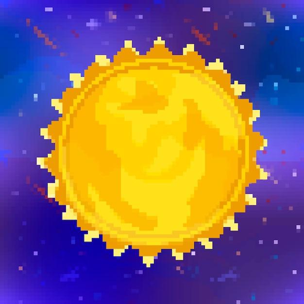 Heldere glanzende zon gele ster in pixel art stijl op ruimte achtergrond Premium Vector