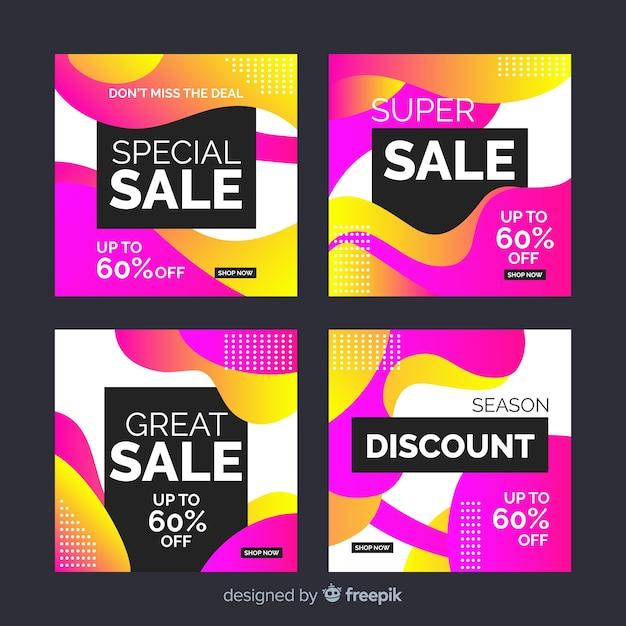 Heldere gradiënt verkoop instagram post collectie Gratis Vector