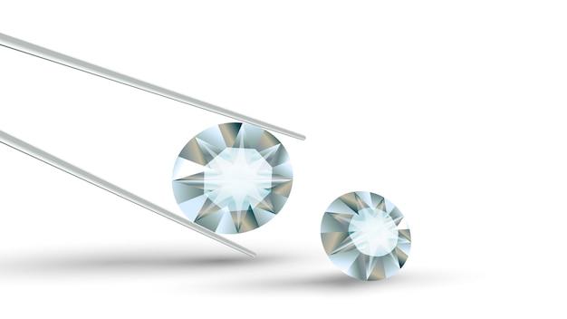 Heldere, heldere, briljante diamant in een pincet Premium Vector