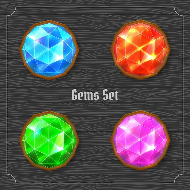 Heldere kleurrijke kostbare edelstenen set. vector illustratie Premium Vector