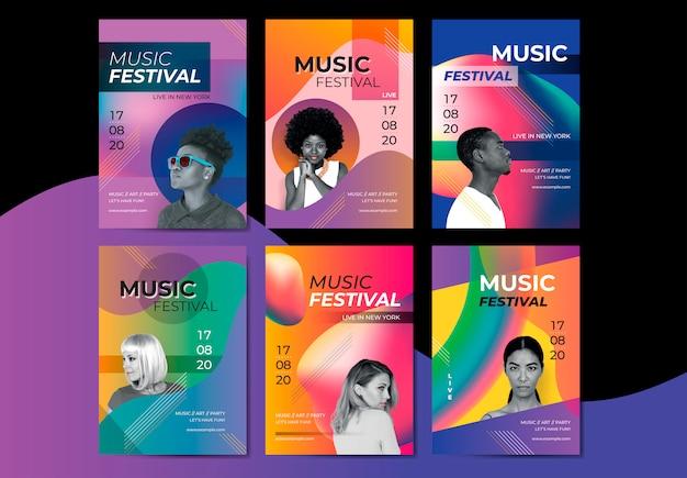 Heldere muziekaffiche Gratis Vector