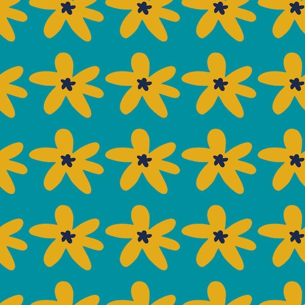 Heldere naadloze patroon met madeliefjebloemen op turkooizen achtergrond. geel botanisch ornament. simpel ontwerp. Premium Vector