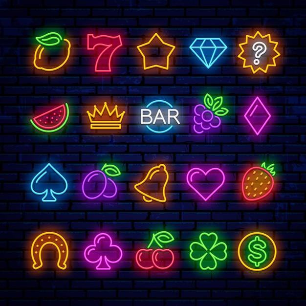 Heldere neonpictogrammen voor casinogokautomaat. Premium Vector