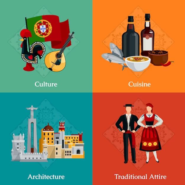 Heldere plat pictogrammen instellen met traditionele portugese kledij keuken Gratis Vector