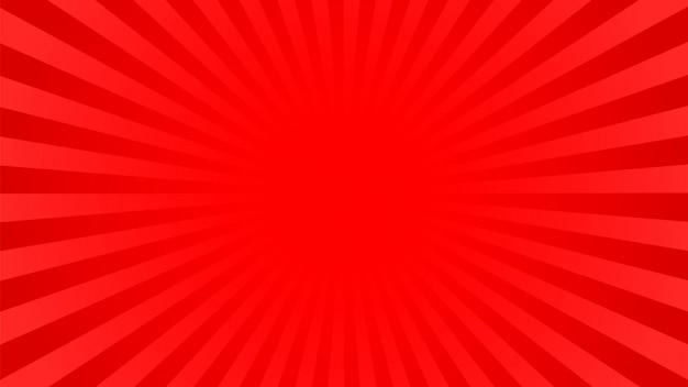 Heldere rode stralenachtergrond: strips, pop-artstijl. Premium Vector