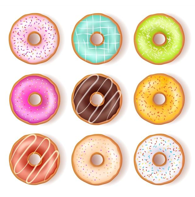 Heldere smakelijke donuts bovenaanzicht set Gratis Vector