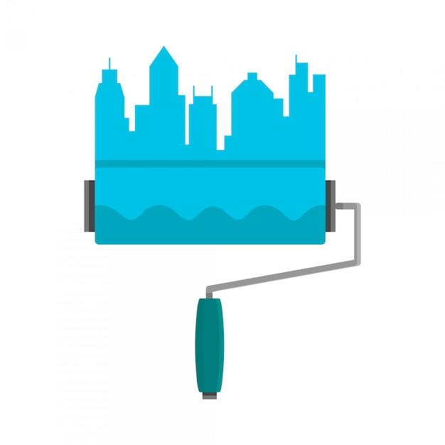 Heldere streep geschilderd op een muurverfroller. skyline van de stad. logo blauwe platte cartoon illustratie op wit wordt geïsoleerd Premium Vector