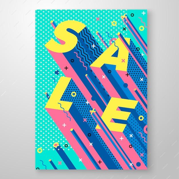 Heldere verkoop memphis stijl poster geometrische vormen. voor speciale aanbiedingen, verkoop enz Premium Vector