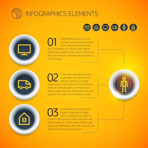 Heldere zakelijke infographic sjabloon met cirkels tekst pictogrammen drie opties Gratis Vector