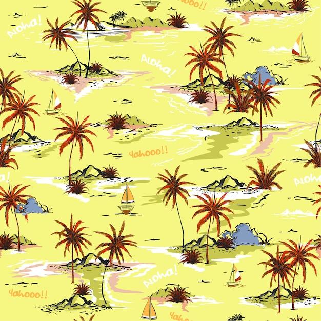 Heldere zomer eiland naadloze eiland patroon Premium Vector