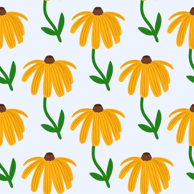 Heldere zomer naadloze patroon met gele zonnebloem silhouet. geïsoleerde bloemenprint met witte achtergrond. Premium Vector