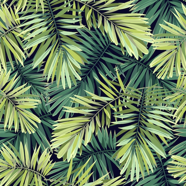 Heldergroene achtergrond met tropische planten. naadloos exotisch patroon met phoenix palmbladeren. Premium Vector