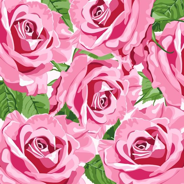 Helderroze rozen bloemenachtergrond voor huwelijksuitnodigingen Premium Vector
