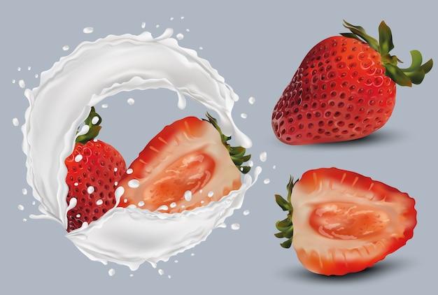Hele aardbeien en plak met aardbeien in melk splashes.3d illustratie. Premium Vector