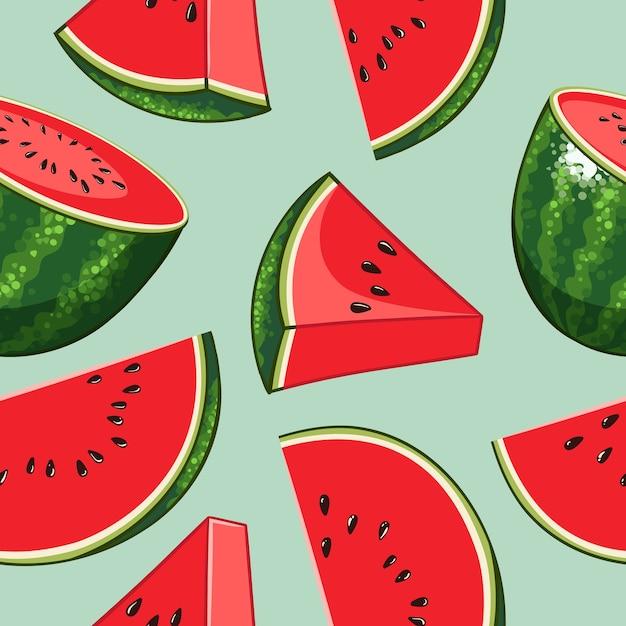 Hele watermeloen met plakjesontwerp naadloos patroon Premium Vector