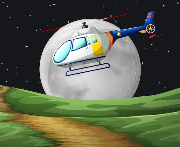 Helikopter die op de volle maannacht vliegt Gratis Vector