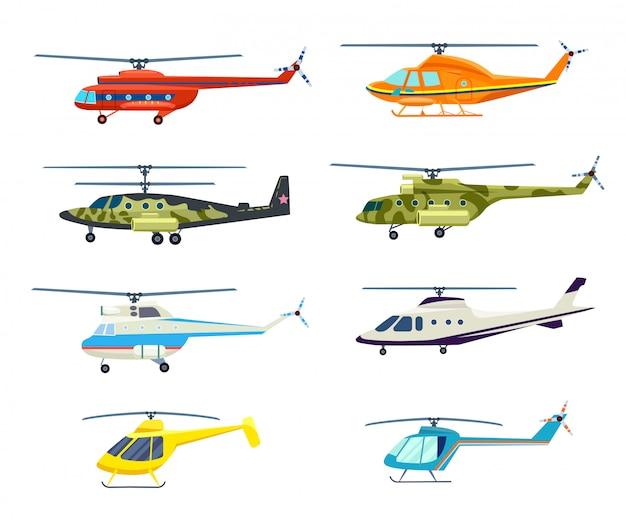 Helikopter geïsoleerde set in plat ontwerp Premium Vector