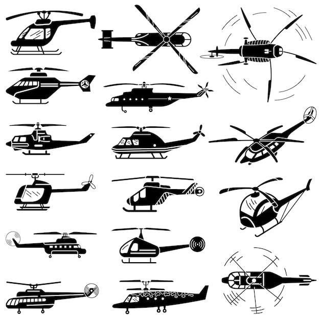 Helikopter geplaatste pictogrammen, eenvoudige stijl Premium Vector