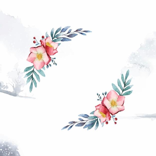 Helleborus bloemframe geschilderd door aquarel vector Gratis Vector