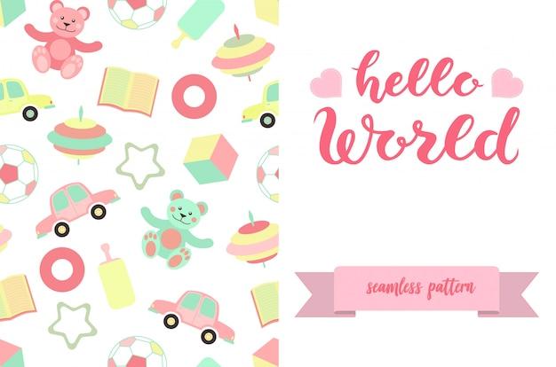 Hello world belettering poster met speelgoed patroon ontwerp Premium Vector