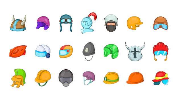 Helm element ingesteld. cartoon set helm vectorelementen Premium Vector