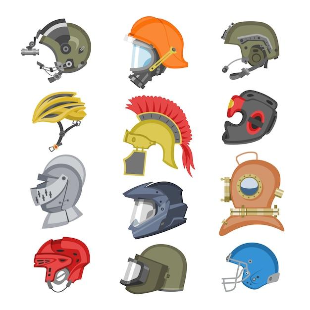 Helm roer uitrusting bescherming of veiligheid sport hoofddeksel beschermen hoofd illustratie set motorfiets hoofddeksels met helm-schild en oude ridder hoofddeksels op witte achtergrond Premium Vector