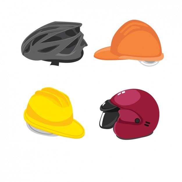 Helmen voor fietsers, motorrijders en arbeiders Gratis Vector