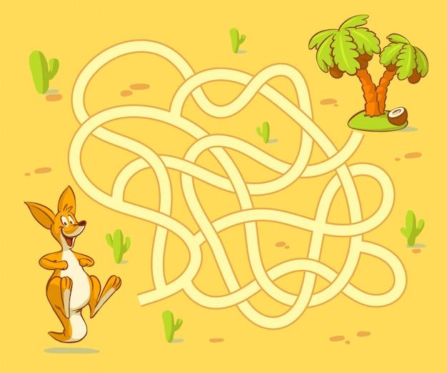 Help de kangoeroewelp het pad naar palm te vinden. labyrint. doolhofspel voor kinderen Premium Vector