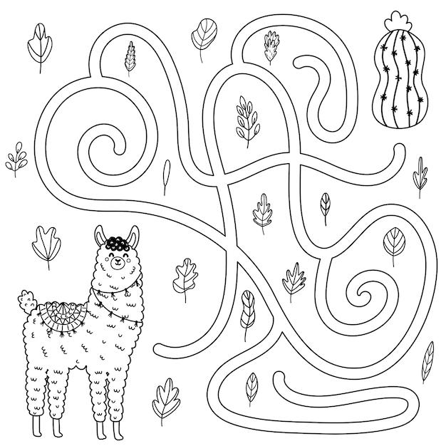 Help de schattige lama om bij de cactus te komen. zwart-wit doolhofspel voor kinderen. labyrint kleurplaat voor peuters. vector illustratie Premium Vector