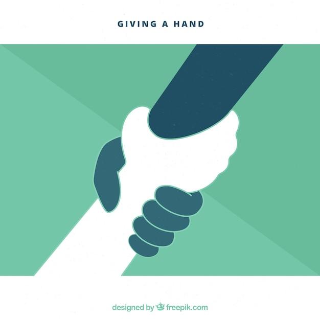 Helpende hand om achtergrond in vlakke stijl te steunen Gratis Vector