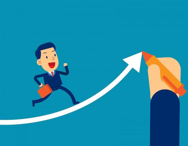 Helpt businessman executives om te slagen Premium Vector