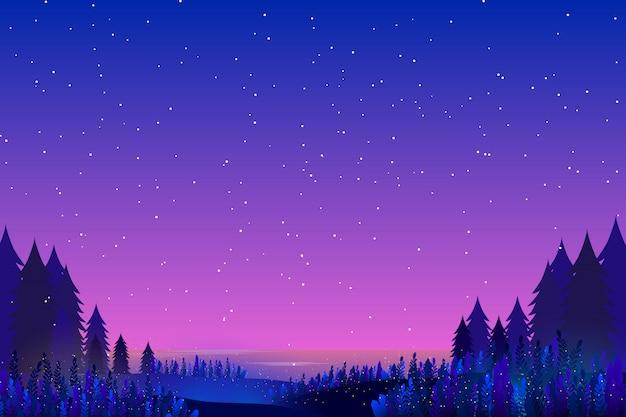 Hemel en zee sterrennacht achtergrond Premium Vector