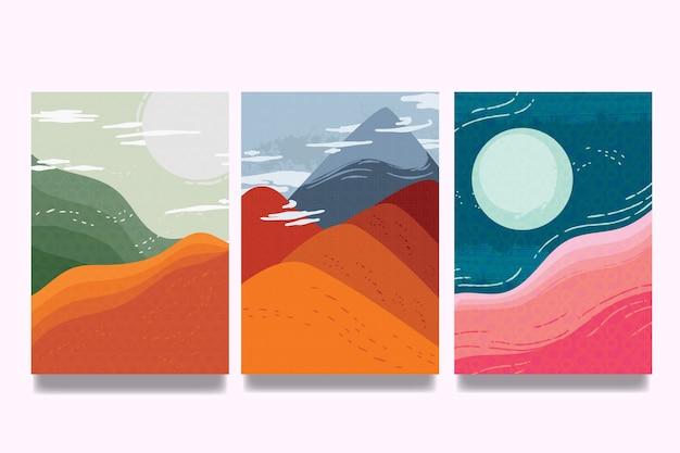 Hemel met wolken en duinen japanse dekkingsinzameling Gratis Vector