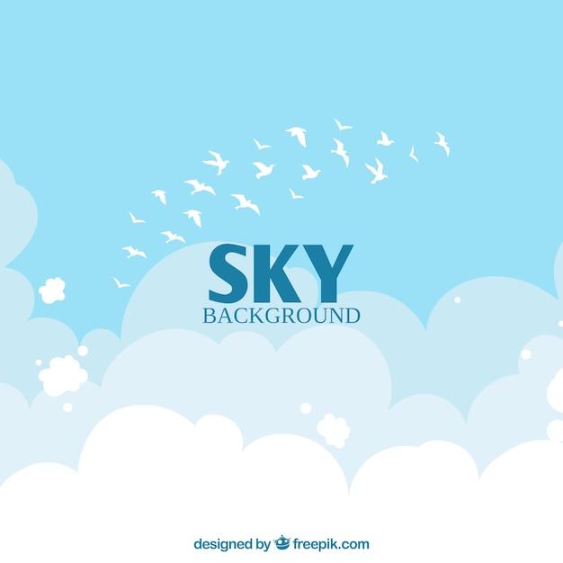 Hemel met wolken en vogelsachtergrond in vlakke stijl Gratis Vector