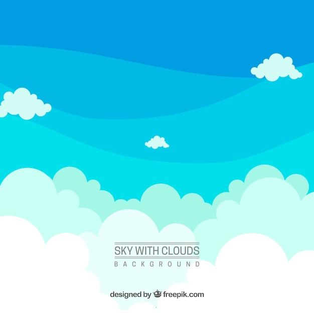 Hemel met wolkenachtergrond Gratis Vector