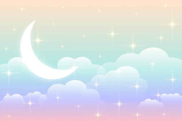 Hemelregenboogachtergrond met gloeiend maanontwerp Gratis Vector