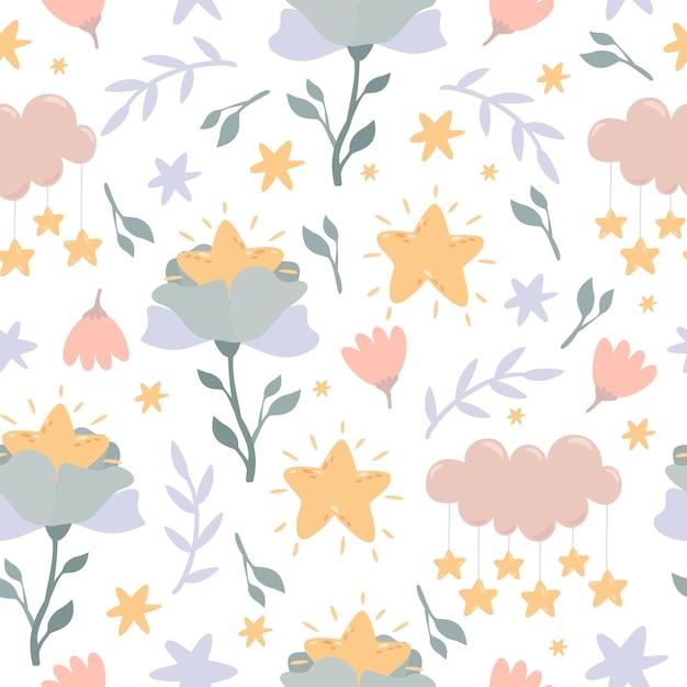 Hemelse bloemen, wolken en naadloze sterpatroon Gratis Vector