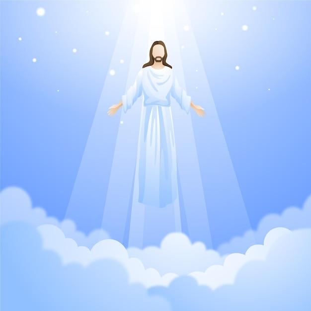 Hemelvaart opstanding van jezus Premium Vector