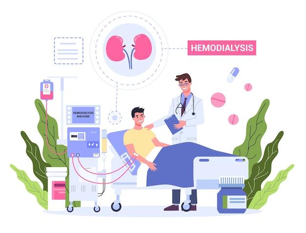 Hemodialyse voor nierbehandeling. de mens krijgt een nierziekte-behandeling. patiënt in het ziekenhuis met arts die een interne injectie heeft. Premium Vector