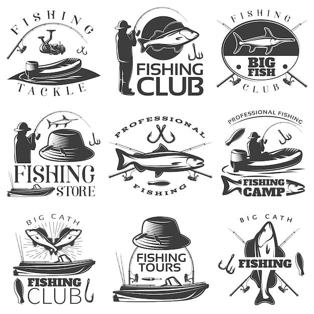 Hengelsport zwart embleem set met visgerei visclub winkelbeschrijvingen Gratis Vector