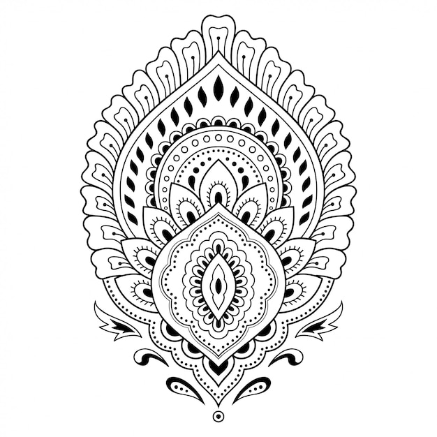 Henna tattoo bloem sjabloon in indiase stijl. etnisch bloemenpaisley - lotus. mehndi-stijl. sierpatroon in de oosterse stijl. Premium Vector