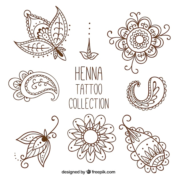 Henna tattoo studio, met de hand getrokken stijl Gratis Vector