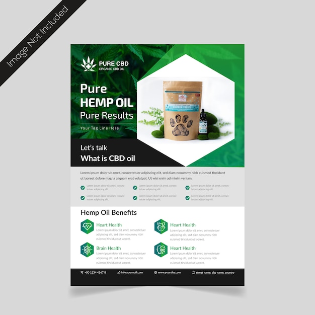Hennep product folder sjabloon Premium Vector