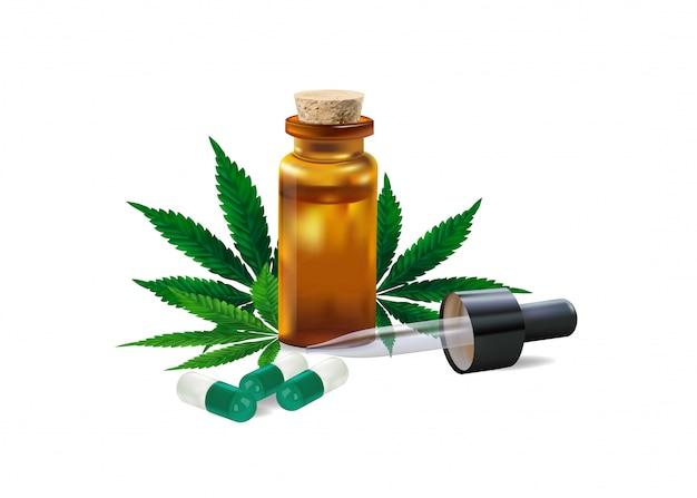 Hennepolie. drugs en cannabisblad op wit wordt geïsoleerd dat Premium Vector