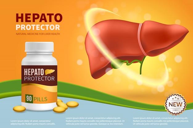 Hepatoprotector realistische samenstelling Gratis Vector