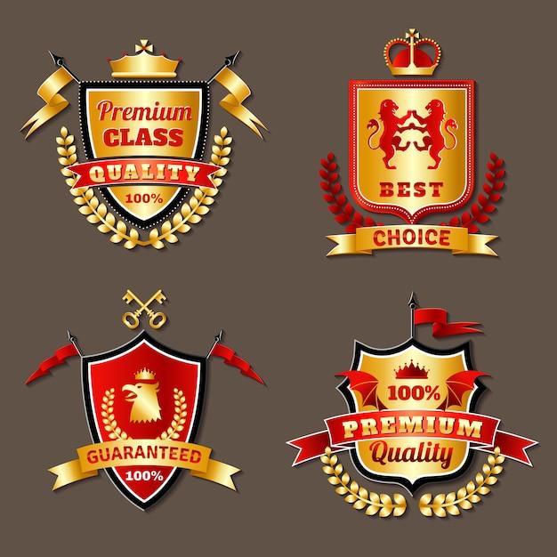 Heraldische premium realistische emblemen set Gratis Vector